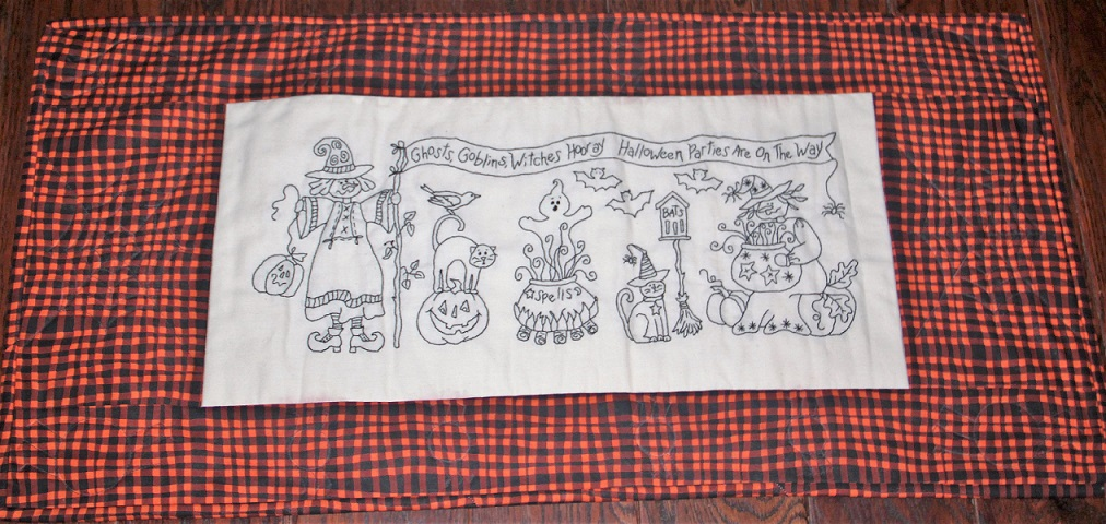 Embroidered Halloween Scene Wall Hanging