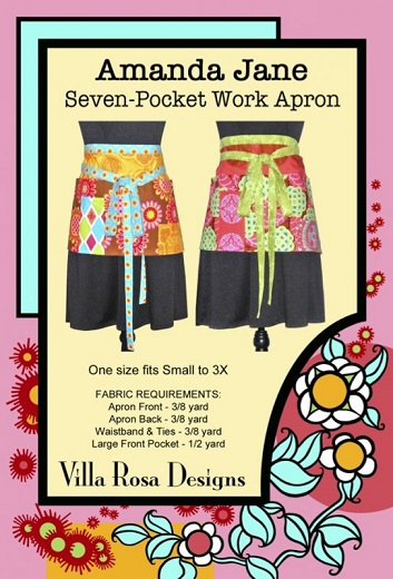 Villa Rosa Amanda Jane Seven-Pocket Work Apron Pattern Card