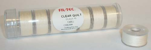 Clear-Quilt Class 15 / Size A Bobbins - Cream Cotton Thread