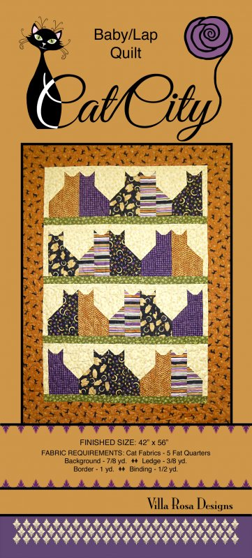 Villa Rosa Cat City Baby/Lap Quilt Pattern Card
