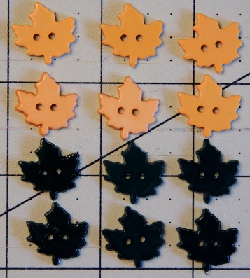 Gold and Forest Green Maple Leaf Decorative Buttons