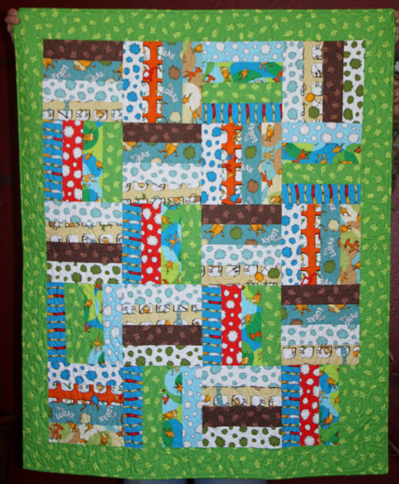 Baby Quilt, Dr Suess Lorax Theme - Boy or Girl
