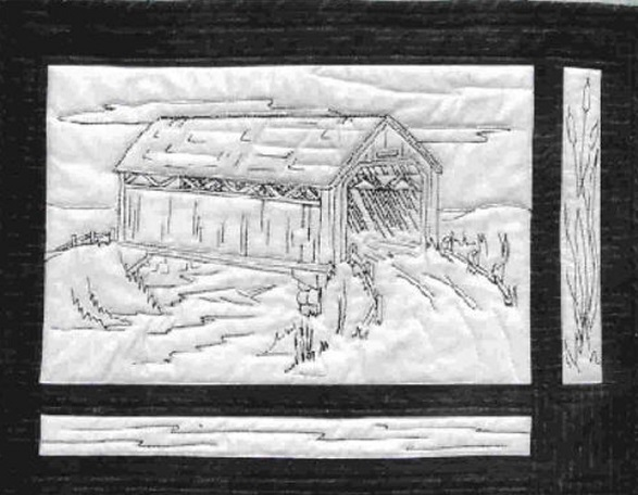 Covered Bridge Wall Hanging Embroidery Pattern