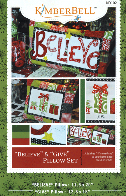 KimberBell Believe & Give Pillow Set Pattern
