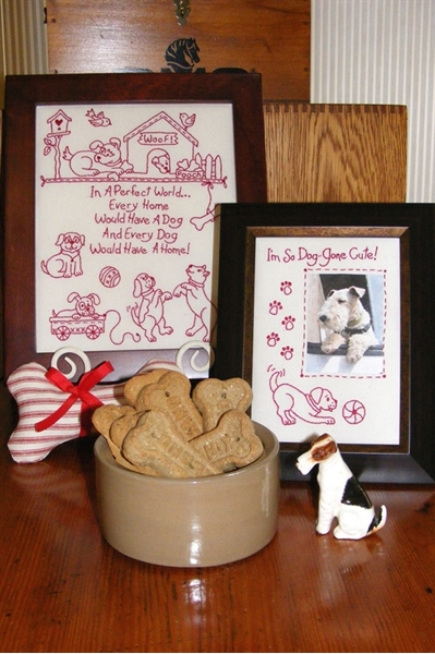 Dog's Perfect World RedWork Embroidery Pattern