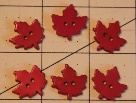 Dark Red Maple Leaf Decorative Buttons