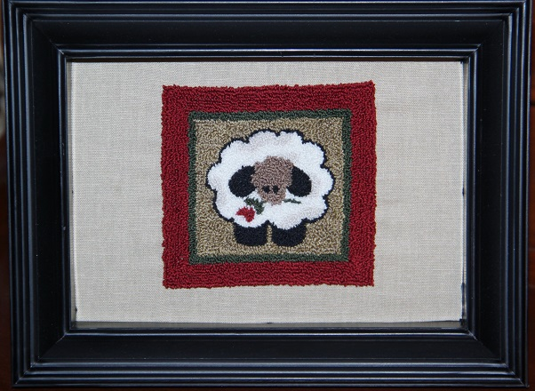 Plump Sheep Punch Needle Artwork in Black Frame