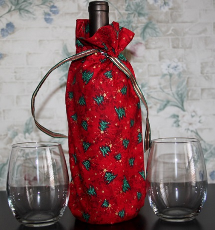 Christmas Tree Themed Wine Bag