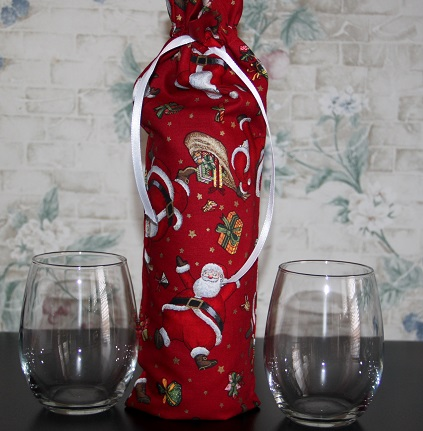 Santa Claus Themed Wine Bag