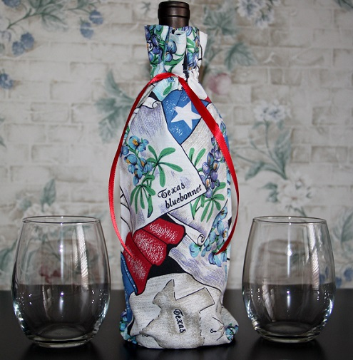 Texas Themed Wine Bag