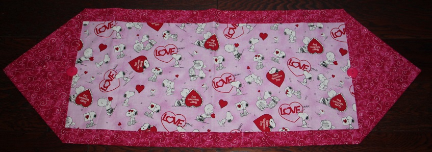 Peanuts / Snoopy Valentines Themed Table Runner
